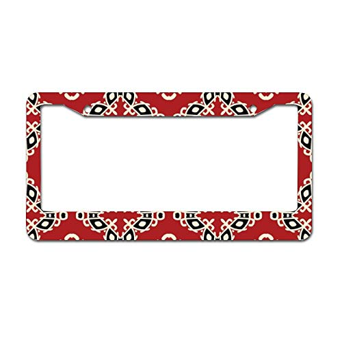 Irish Chrome License Plate Frame (DKISEE Red Tribal Ethnic Seamless Pattern Chrome License Plate Frame Metal Auto License Plate Frame Car Licenses Plate Cover Holder for US Vehicle 6 x 12 inch)