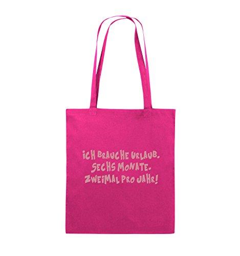 Borse Da Commedia - Ho Bisogno Di Una Vacanza - Sei Mesi - Borsa Di Juta - Manico Lungo - 38x42cm - Colore: Nero / Rosa Rosa / Rosa