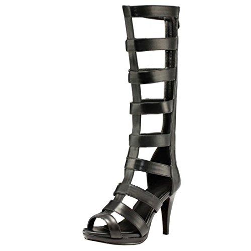 Atyche Damen Knie Hoch Sommer Stiefel mit Plateau und Reißverschluss Stiletto High Heels Römersandalen Offen Schuhe (Heel Knie Stiefel Stiletto Schnalle)