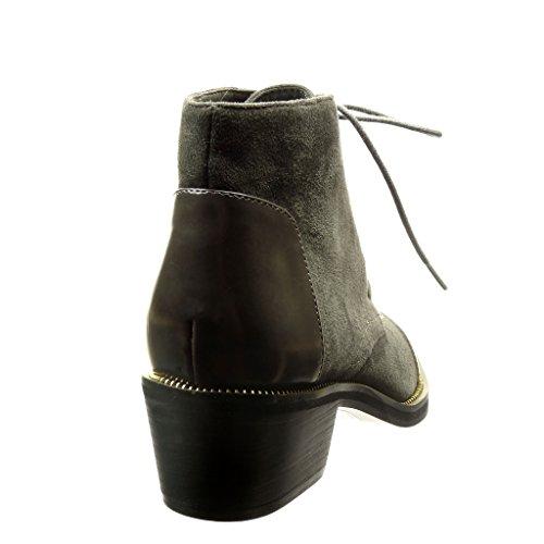 Angkorly - damen Schuhe Stiefeletten Brogue Schuh - bi-Material - Low boots - metallisch - Patent Blockabsatz high heel 4.5 CM Grau