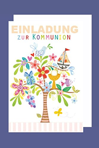 Kommunion Einladungen Karte 5er Mehrstückpackung Kerze mit Blume 5 Doppel Karten