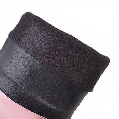 Coeur & M Femmes Faux Cuir Chaussures Automne Hiver Bottes Bottines Carré Bout Rond Mi Bottes Avec Diamants Pour Casual Blanc