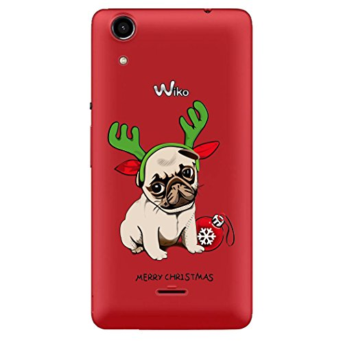 Coque Wiko Rainbow Lite 4G, WE LOVE CASE Souple Gel Cristal Transparent Coque Wiko Rainbow Lite 4G Noël Silicone Motif Fine Mince Coque Girly Resistante Coque de Protection Bumper Coque Wiko Rainbow Lite 4G Chien