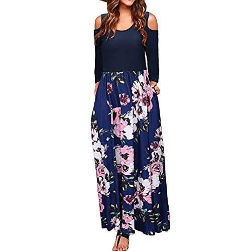 Damen Langarm Elegant Schulterfrei Partykleid,Yanhoo Mode Frauen Florale -