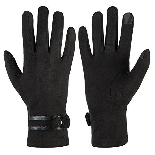 GLOUE Warme Handschuhe Winter Handschuhe Damen Touchscreen Handschuhe Wildleder Bankett Radfahren Motorradfahren Innen Outdoor Schwarz, Rot, Grau, Schwarz, One size