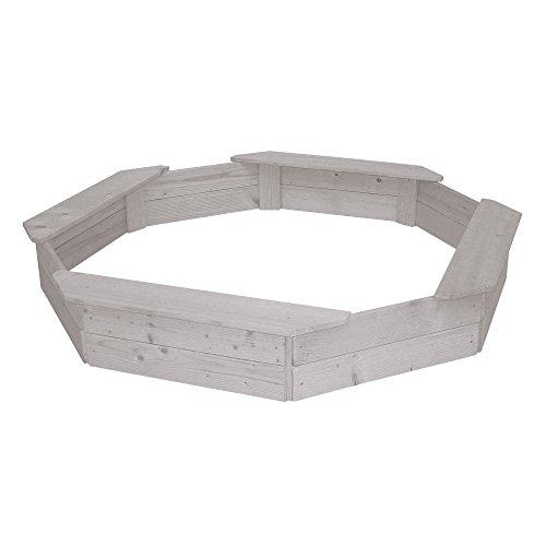 roba Sandkasten 8-eckig, Holzsandkasten aus wetterfestem Massivholz, grau lasiert