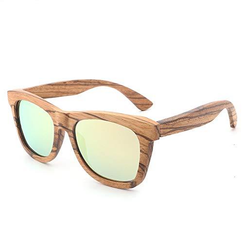 Herren Sonnenbrillen Bambus Holz Sonnenbrillen Retro Holz Brille Farbfilm Polarisierte Sonnenbrillen LTJHJD (Color : Gold, Size : Kostenlos)