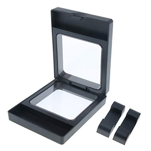 Shiwaki 3D Floating Frame Display Halter Fall Schwarz Herausforderung Münze Display Stand Box, Schmuck Ohrringe Armband Showcase, 5 Größe Optional - Schwarz 9x7cm -