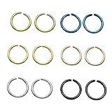 PiercingJ Körperpiercing Set 12 Stücke 0.8mm 316L Edelstahl Universal Piercing Fake Hoop Ring auch für Tragus Helix Ohr Nase Lippe Segmentring Septum Brust Intim,Silber/Gold (Innendurchmesser: 6mm)