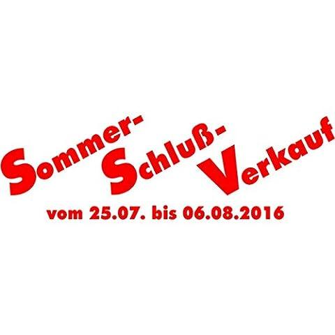 SSV Sommer-Schluß-Verkauf mit Datum - Schaufensteraufkleber – Selbstklebende Folienbeschriftung - Aufkleber Schaufensterbeschriftung
