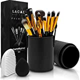 Lacari ® Kosmetikpinsel Set [12 Pinsel] aus hochwertigem Echthaar - Professionelles Make-Up Set mit vielen Arten von Pinseln - Gratis Pinselreiniger und Beauty Blender