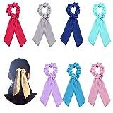 WXJ13 8 piezas gasa pelo Scrunchies pelo bufanda coleta soporte elástico anillo de pelo banda para las mujeres, 8 colores