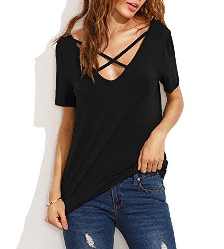 KUONUO Damen Sommer Kurzarm T-Shirt V-Ausschnitt mit Schnürung Vorne Oberteil Tops Bluse Shirt Black S