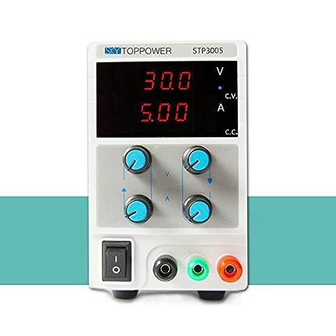 KKmoon DC0-30V 0-5A Mini Digital Regulierte DC-Stromversorgung Einstellbare Power Supply Ausgangsspannung Strom STP3005 (Einstellbare Einstellung)
