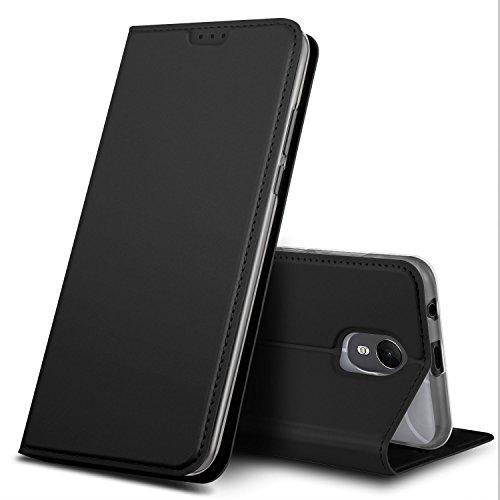 GeeMai Wiko Jerry 3 Hülle, Premium Flip Case Tasche Cover Hüllen mit Magnetverschluss [Standfunktion] Schutzhülle Handyhülle für Wiko Jerry 3 Smartphone, Schwarz
