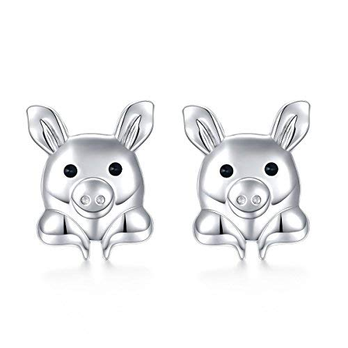 Silver Light Jewelry Hypoallergene Tier-Ohrstecker, 925er Sterlingsilber, niedliche Schweine-Ohrringe für Mädchen und Frauen - Piggy Italienisch