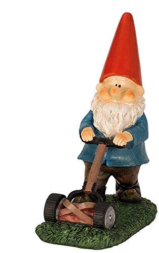 Gartenzwerg Figur mit Rasenmäher 25,5 cm x 21 cm