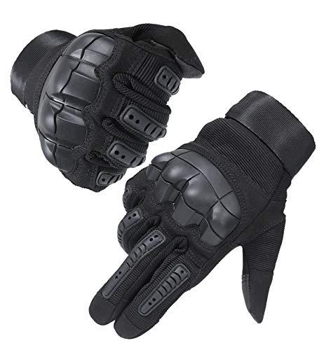 HIKEMAN Full Finger Touchscreen Tactical Militär Handschuhe für Männer und Frauen, Harte Knöchel Handschuhe für Jagd, Schießen, Motorrad, Radfahren, Wandern, Holzbau Schwerindustrie - Schwarz - XL Finger-touch Screen