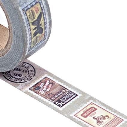 Vintage Retro sellos Washi–Cinta adhesiva con estampado