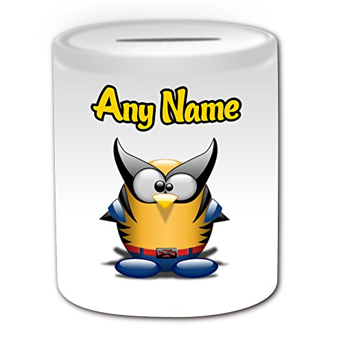 Personalisiertes Geschenk–Wolverine Spardose (Pinguin Film Charakter Design Thema, weiß)–Jeder Name/Nachricht auf Ihre Einzigartiges–Kostüm Film Superheld Hero Marvel Comics Avengers X-Men Logan James (Kostüm Howlett)