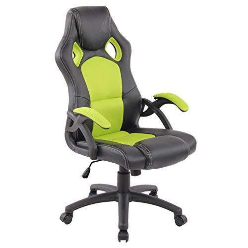 Preisvergleich Produktbild MACOShopde by MACO Möbel Gamer Racing Bürostuhl / Schreibtischstuhl aus Kunstleder Stoffmix in schwarz neon grün mit Armlehnen und Sportsitz