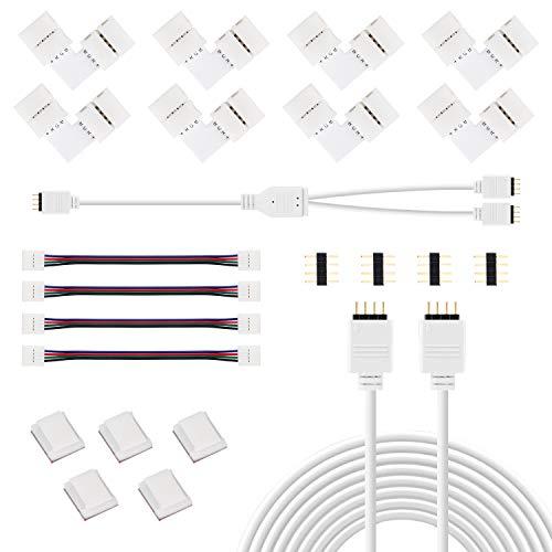 Jayol Led Strip Verbinder Zubehör-Set für 4 Pin RGB 5050 LED Streifen, LED Strip Verbinder, LED Strip Verteiler, LED Stripe Verlängerung, LED Strip Eckverbinder, LED Streifen Befestigungsclips