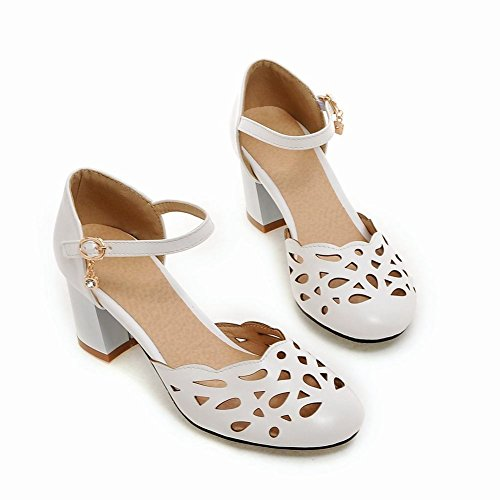 Mee Shoes Damen chunky heels ankle strap Pumps Weiß