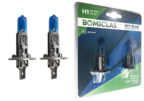 BOMICLAS H1 XENON Optik Lampe, SKY BLUE Performance Line, 12V 55W, Halogen Scheinwerferlampe, 2x Super White Birne