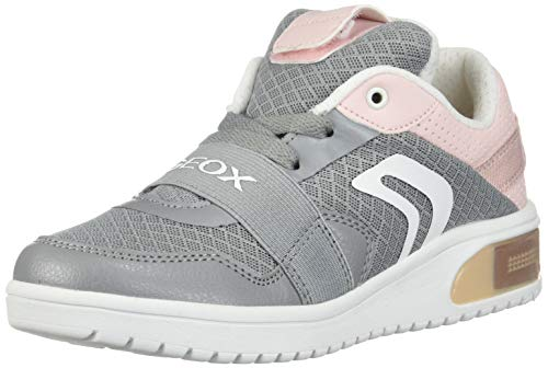 Geox XLED Girl J928DA Mädchen High-Top Sneaker,Kinder LED Licht Text,Schnürung,Sportschuh,Mid Cut Sneaker,Grey/LT Rose,31