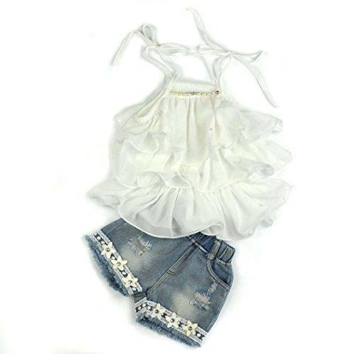 Igemy Kleinkind Kinder Baby Mädchen Chiffon Perle Weste Shirt + Jean Shorts Outfits Kleider Set (130) (Chiffon-kleid Jeans)