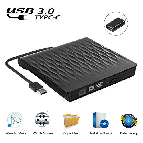 Externes DVD Laufwerk USB 3.0, Tragbar Ultradünn USB C CD/DVD RW Brenner für Laptops und Desktops, Notebook, kompatibel mit Windows XP/ Win8.1/ Wind10/ Vista/7, Linx, Mac10 OS System