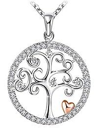 """Collier, J.Rosée Argent 925, Bijoux Femme/Fille, 5A Zirconium cubique Blanc, Chaîne 45+5cm, Cadeaux Saint Valentin pour Femme avec Paquet Exquis""""L'arbre de Vie"""""""