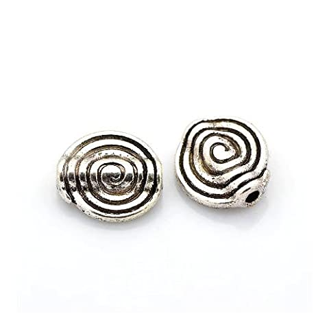 Packet of 20 x Antique Silver Tibetan 4 x 11mm Flat Round Spacer Beads - (HA17455) - Charming Beads