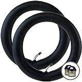 """2 x PHIL & TEDS DASH Stroller/Pushchair Inner Tubes 12"""" / 12 1/2"""" - 45º Bent/Angled Valve + Upgraded """"Intertube"""" branded chrome valve caps FREE! (RRP £2.99)"""