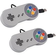 XCSOURCE® USB 2pcs SNES Classic super Nintendo Regulador del juego de Gamepad para Windows PC / MAC Negro