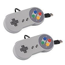XCSOURCE 2pcs SNES classico USB Super Game Controller Gamepad della barra di comando per Windows PC / MAC AC560