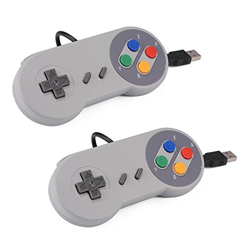 XCSOURCE 2pcs SNES classico USB Super Game Controller Gamepad della barra di comando per Windows PC / MAC AC560