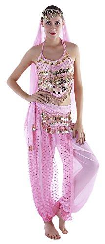 Erwachsene Für Kostüm Jeannie - Seawhisper Aladin Kostüm Damen Orientalische Kostüm Oberteil Schleier Hüfttuch Hose Bauchtanz Rosa