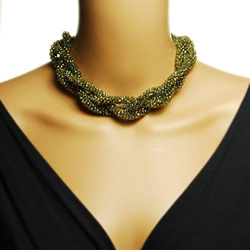 Collana in cristallo, colore: verde oliva