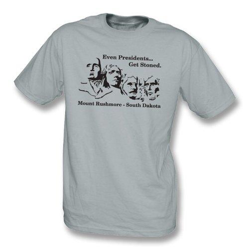 TshirtGrill Sogar Präsidenten erhalten entsteintes T-Shirt groß, Farbe- Grau (Unisex T-shirt Präsident)