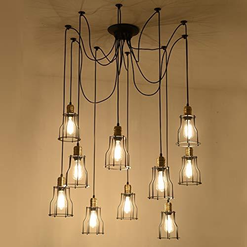 LIGHT BYJUM Kronleuchter Deckenleuchte Innenbeleuchtung im Retro-Stil 10 Spinnenarme E27 (jeweils...