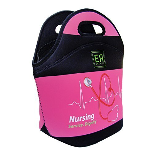 Nurses Insulated Neoprene Lunch Tote Bag By EatRite Heavy-Duty-Zipper 4mm XThick XLarge 13 x 12.5 x 6.5in Black, Fuchsia/Black (Fuchsia/Black)