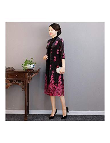 ATLD Cheongsam Herbst Samt Stehkragen Cheongsam Chinesische Frauen Vintage 2 Stücke Qipao Anzug Elegante Abendgesellschaft Kleid Plus Größe M-3Xl,Schwarz 3,XL -