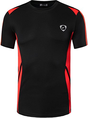 jeansian Herren Sportswear Quick Dry Short Sleeve T-Shirt LSL148_Black M -