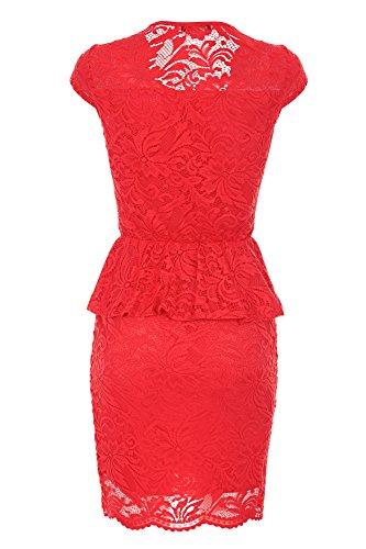 Laeticia Dreams Damen Kleid aus Spitze Kurzarm Knielang Schößchen S M L XL Rot