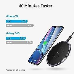ESR Chargeur sans Fil à Induction [Cadre Métal] Compatible avec iPhone 11/11 Pro/11 Pro Max/XS/XS Max/XR/X/8, 10W pour Galaxy S20/S20+/S20 Ultra/Note 10/S10/Note 9/S9, Pixel 3/4 (sans Prise) Noir