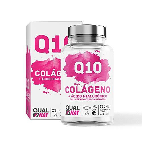 QUALNAT - Collagene con acido ialuronico e coenzima Q10, Vitamina C + Collagene Marino Q10-90 CAP