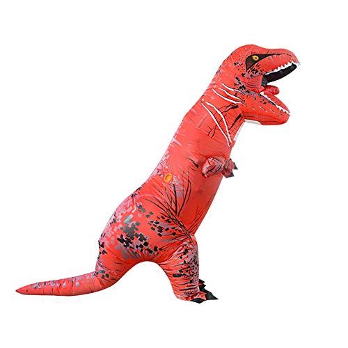 MIMI KING Dinosaurier Aufblasbare Kostüm Halloween Cosplay, Tyrannosaurus T-Rex Cosplay Für Erwachsene,Red
