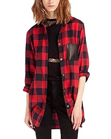 StyleDome Femme Chemise à Carreaux Manches Longues Bouton Revers T-shirt Plaids Flanelle Top Hauts Blouse Rouge EU 36