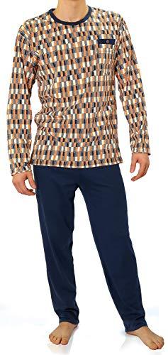 Sesto Senso® Pyjama Herren Lang Schlafanzüge 100% Baumwolle Langarm und Langehose Zweiteiliger Set Nachtwäsche (L, 01 orange) - Nachthemd Langarm Thermo